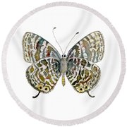 51 Lang's Short-tailed Blue Butterfly Round Beach Towel