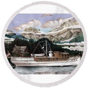North To Alaska On A 53 Foot Classic Yacht  Round Beach Towel