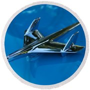 55 Chevrolet Hood Ornament Round Beach Towel