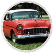 55 Chevy Round Beach Towel