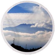 View Of Mt. Etna From Taormina Sicily Round Beach Towel