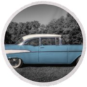 57 Chevy Black And White And Color Round Beach Towel
