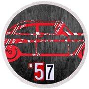 57 Chevy License Plate Art Round Beach Towel