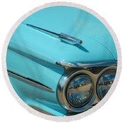 59 Pontiac Catalina Hood Ornament Round Beach Towel