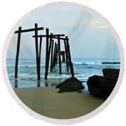 59th Street Pier Ocean City   Round Beach Towel