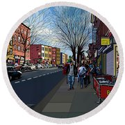 5th Ave Park Slope Brooklyn Round Beach Towel