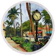 5th Avenue Naples Florida Round Beach Towel