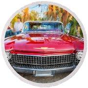 1960 Cadillac Eldorado Biarritz Convertible Painted  Round Beach Towel