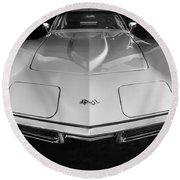 1969 Chevrolet Corvette 427 Bw Round Beach Towel