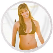 A Surfer Girl Poses For Fun Portraits Round Beach Towel