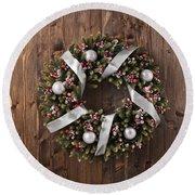 Advent Christmas Wreath Decoration Round Beach Towel