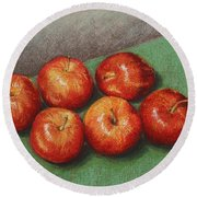 6 Apples Washed And Waiting Round Beach Towel