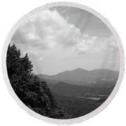 Blue Ridge Mountains - Virginia Bw 3 Round Beach Towel