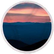 Blue Ridge Parkway Scenic Mountains Overlook Round Beach Towel