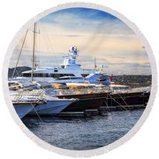 Boats At St.tropez Round Beach Towel by Elena Elisseeva