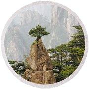 Chinese White Pine On Mt. Huangshan Round Beach Towel
