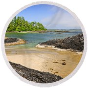 Coast Of Pacific Ocean On Vancouver Island Round Beach Towel by Elena Elisseeva