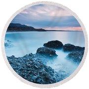 Blue Crete. Round Beach Towel