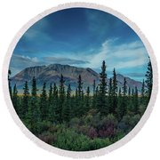 Denali Highway, Route 8, Offers Views Round Beach Towel