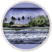 Digital Oil Painting - A Houseboat On Its Quiet Sojourn Through The Backwaters Round Beach Towel