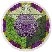 Dodecahedron In A Metatron's Cube Round Beach Towel