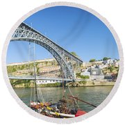Dom Luis Bridge Porto Portugal Round Beach Towel