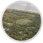 East Coast Aerial Near Jekyll Island Round Beach Towel