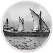Fishing Vessel In The Arabian Sea Round Beach Towel