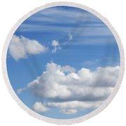 Fluffy Clouds Round Beach Towel