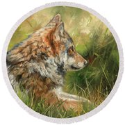 Grey Wolf Round Beach Towel
