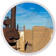 Harmony Borax Works Death Valley National Park Round Beach Towel
