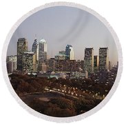 High Angle View Of A City Round Beach Towel