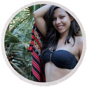 Hispanic Beauty Round Beach Towel