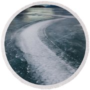 Ice Pattern On Frozen Abraham Lake Round Beach Towel