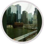 Lake Street Bridge Round Beach Towel