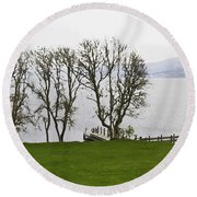 Loch Ness And Boat Jetty Next To Urquhart Castle Round Beach Towel