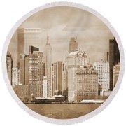 Manhattan Buildings Vintage Round Beach Towel