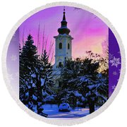 Christmas Card 21 Round Beach Towel
