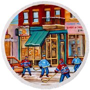 Montreal Paintings Round Beach Towel
