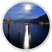Moon Light Over An Alpine Lake Round Beach Towel