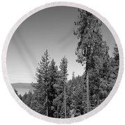 Mountainside Near Lake Tahoe Round Beach Towel