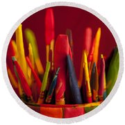 Multi Colored Paint Brushes Round Beach Towel