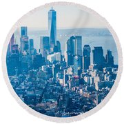 New York City Manhattan Midtown Aerial Panorama View With Skyscr Round Beach Towel