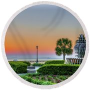 Morning Pineapple Round Beach Towel