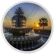 Sun Rays Over Waterfront Park Round Beach Towel