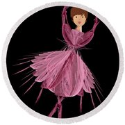 6 Pink Ballerina Round Beach Towel
