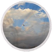 6- Rainbow And Seagull Round Beach Towel