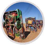 Route 66 - Cadillac Ranch Round Beach Towel