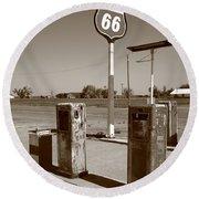 Route 66 Gas Pumps Round Beach Towel