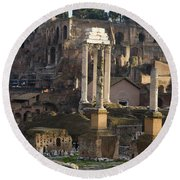 Ruins In The Roman Forum Rome Italy Round Beach Towel